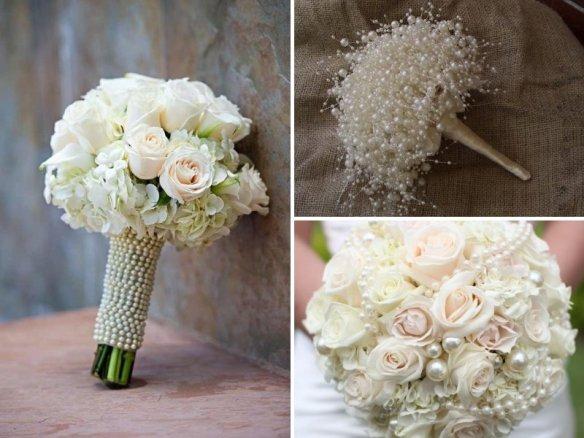 pearl wedding flower bouquets