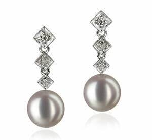 Drop Pearl and Diamond Earrings