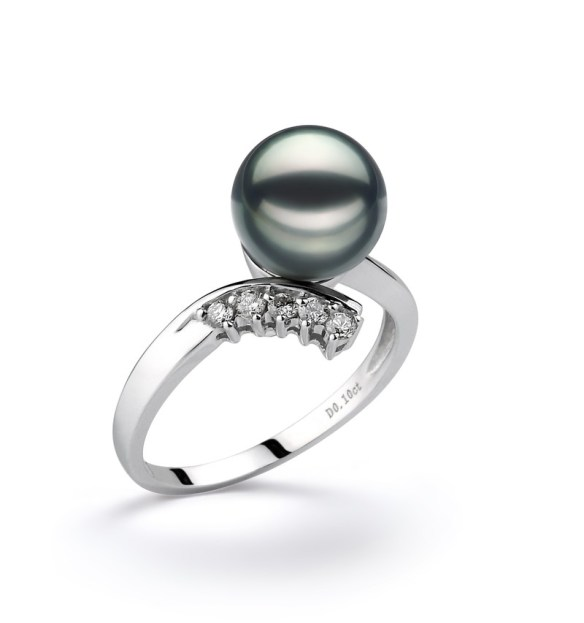 wedding black pearl ring