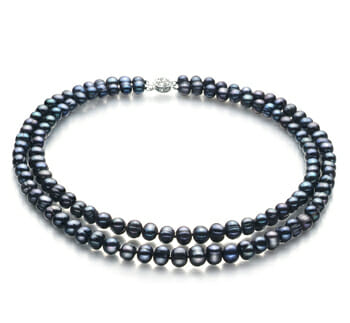 black pearl cluster necklace
