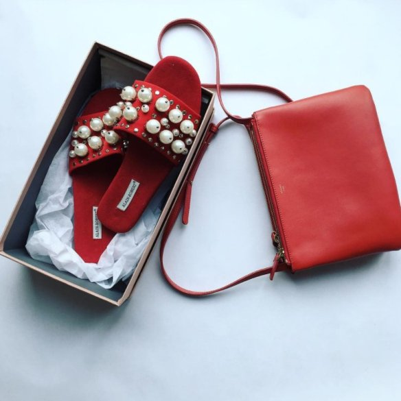 red pearl shoes