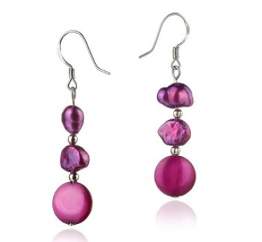 pink pearl color - pearl earrings