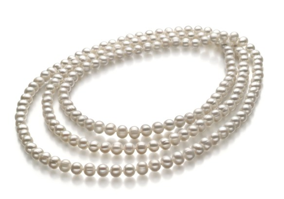 Long white freshwater multi strand pearl necklace