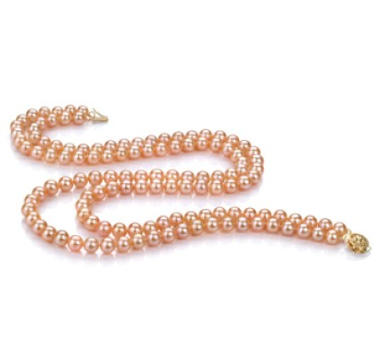 Pink freshwater multi strand pearl necklace