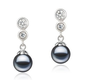 pair of black pearl drop earrings