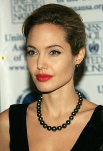 angelina jolie wearing pearls