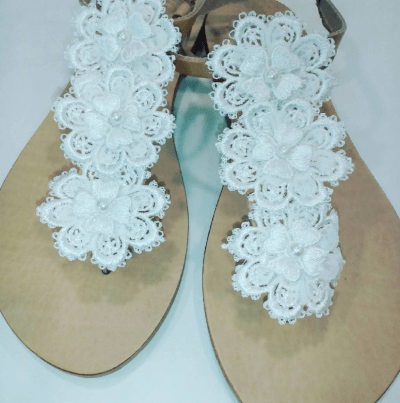wedding sandals with pearls