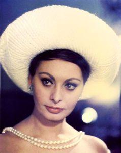 Sophia Loren wearing pearls