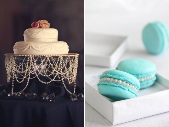 Pearl adorned wedding cake