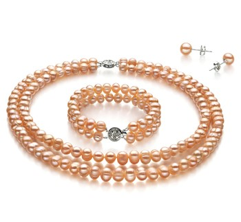 set of pink pearl jewelry