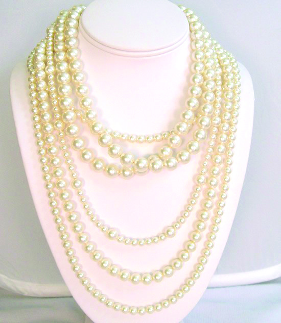 6 strand pearl necklace, layered