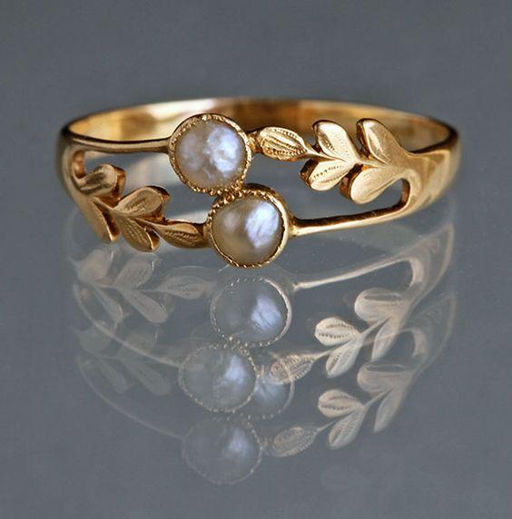 edwardian pearl engagement ring - Pearl Wedding Rings