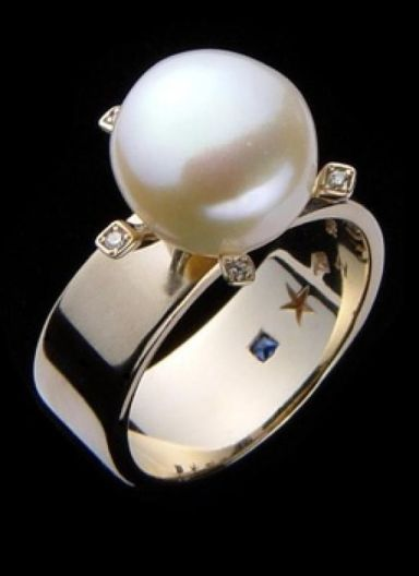 wedding pearl ring in art deco style - Pearl Wedding Ring