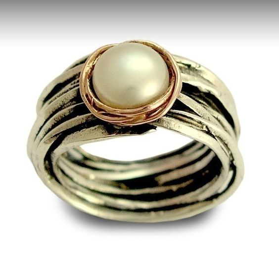 Perle Hochzeitsring in Silber