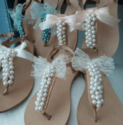 Hochzeitssandalen mit Perlen