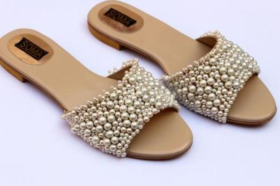 pearl embellished wedding flats