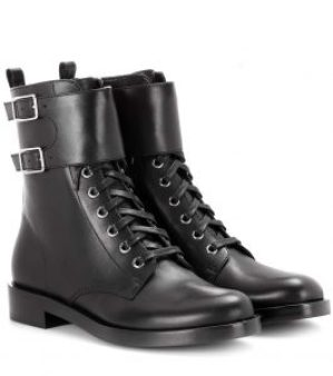 black shoes combat black leather boots