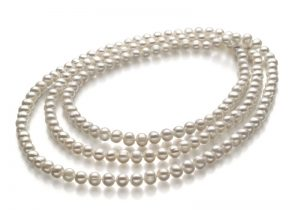 long strand of white pearls