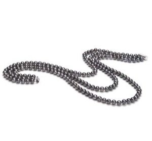 black triple strand pearl necklace