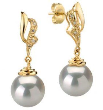 white south sea pearl earrings with diamonds