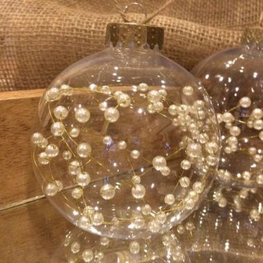pearl christmas globe ornament