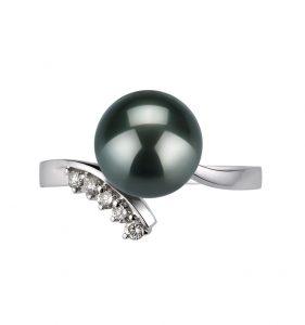 Schwarze Perlenringe für Frauen
