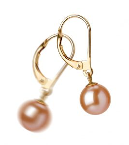 drop pink pearl earrings