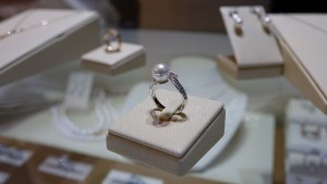 silver and pearl ring