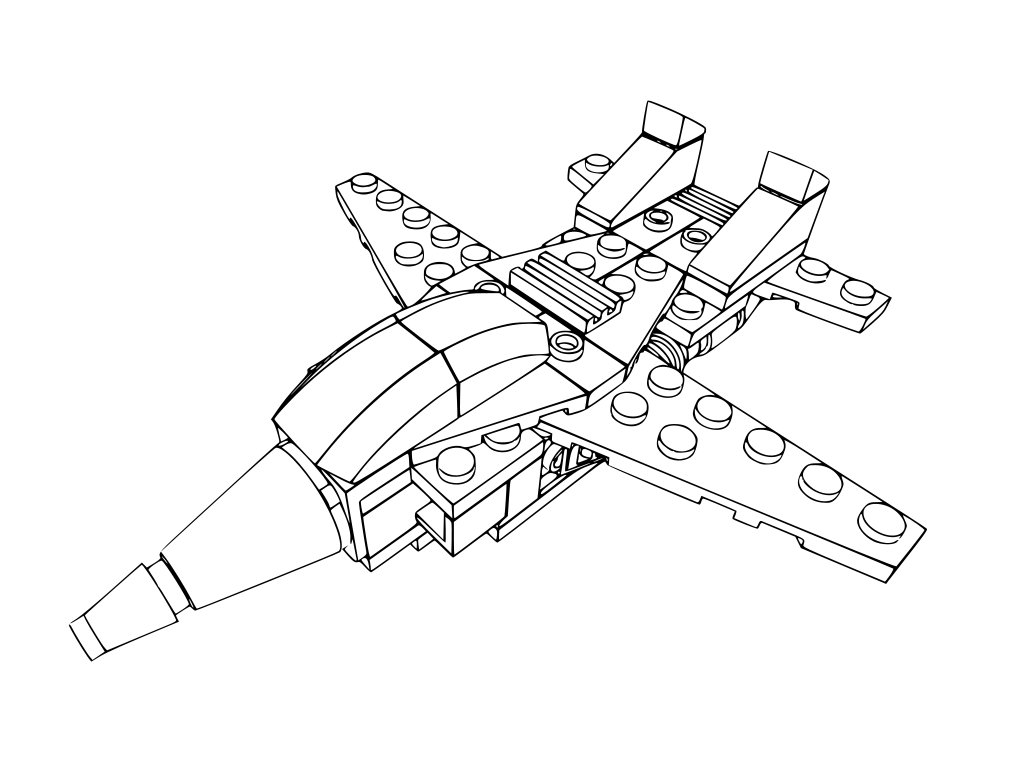 City Airplane Lego Coloring Page Coloring Pages
