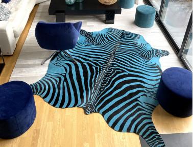 peau de vache zebre bleue