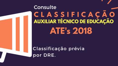 Photo of Classificação Prévia de Auxiliar Técnico de Educação – ATE – PMSP – 2018