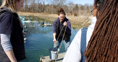 Christie Pfoertner and Sherryll Jones at Saturday's water quality monitoring training.