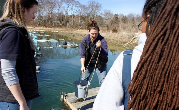 Christie Pfoertner and Sherryll Jones at Saturday's water quality monitoring training.
