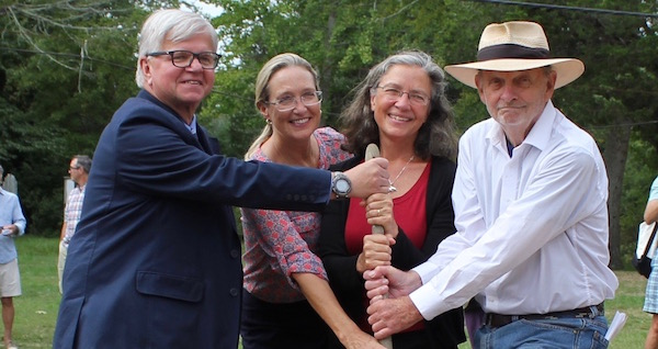 State Assemblyman Fred Thiele, County Legislator Bridget Fleming, Sylvester Manor Planning and Conservation Director Sara Gordon and Shelter Island Town Supervisor Jim Dougherty breaking ground for the Sylvester Manor project.