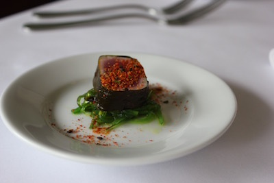 Chef Noah Schwartz's yellowfin tuna roll wrapped in kelp grown in the Peconics.