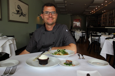 Chef Noah Schwartz with his creations for the June 23 kelp tasting dinner.