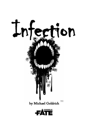 Cover for Infection is black and white with an open mouth showing only teeth with blood dripping