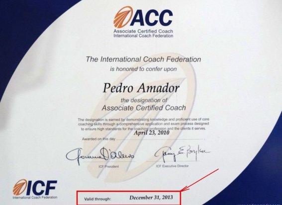 Diploma ACC Pedro Amador - ICF