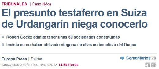 Testaferro Urdangarín niega