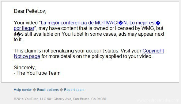 mensaje YouTube limitando