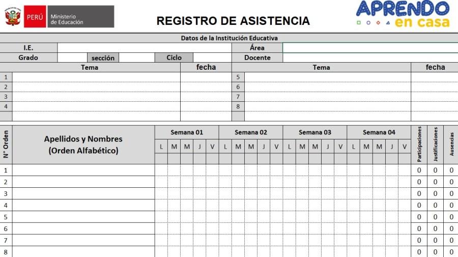 Registro de Asistencia Abril 2021 Editable