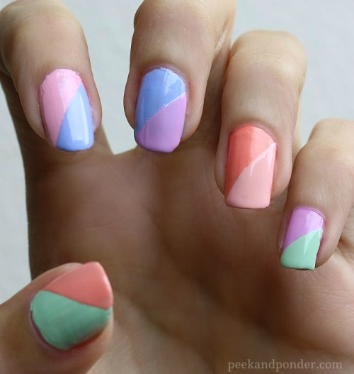 Pastel two-toned nails