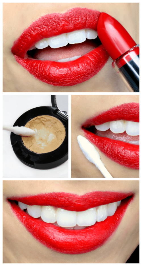 Q-tip red lip application