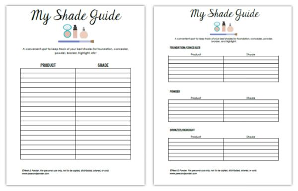 makeup shade printable worksheets