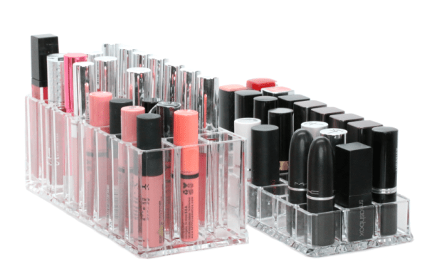 Acrylic makeup organizers keep makeup products neat and tidy in drawers