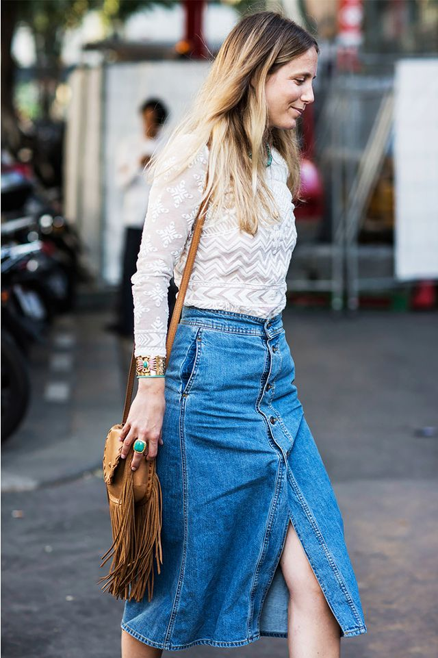 lace top can be paired with a denim skirt