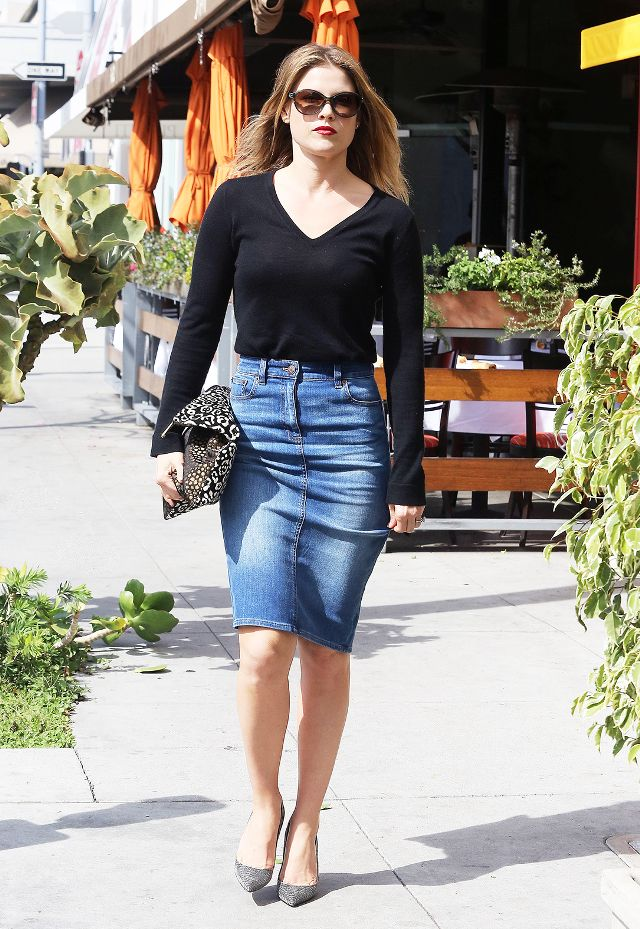 plain black top and pair it with the denim skirts
