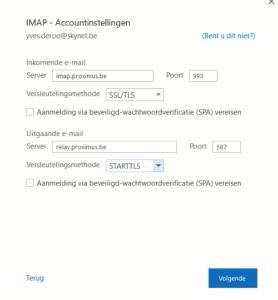 Skynet imap settings