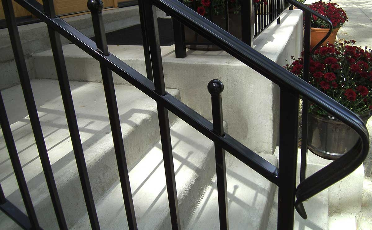Commercial Railing Systems Peerless Fence Chicagoland   Commercial Handrails And Railings   Metal   Wood   Guardrail   Pipe Railing   Stainless Steel Railing