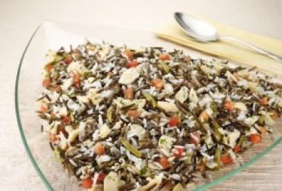risoto de arroz selvagem com bacalhau